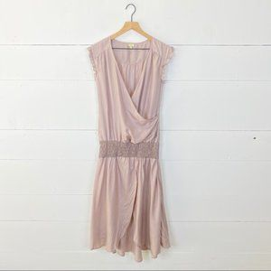 EDUN Pale Pink 100% Silk Drop Waist Dress Size M
